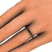 Black Diamond Stacking Ring on Finger Rare Earth Jewelry