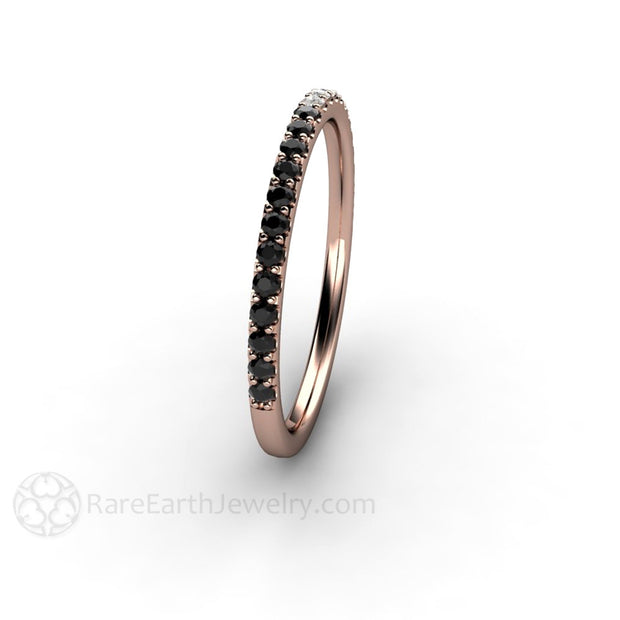 Black and White Diamond Skinny Ring Stackable Band Rare Earth Jewelry