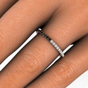 Black and Diamond Stacking Ring on Finger Rare Earth Jewelry