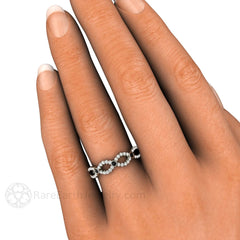 White Black Diamond Infinity Ring on Finger Rare Earth Jewelry