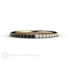 14K Black and White Diamond Ring Petite Stacking Band Rare Earth Jewelry