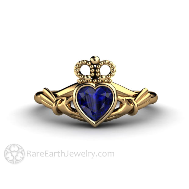 Blue Sapphire Claddagh Ring Irish Engagement Ring in 18K Yellow Gold Irish Jewelry Rare Earth Jewelry