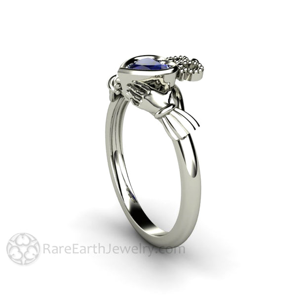 Blue Sapphire Claddagh Ring Celtic Jewelry Irish Wedding Ring Side View Rare Earth Jewelry