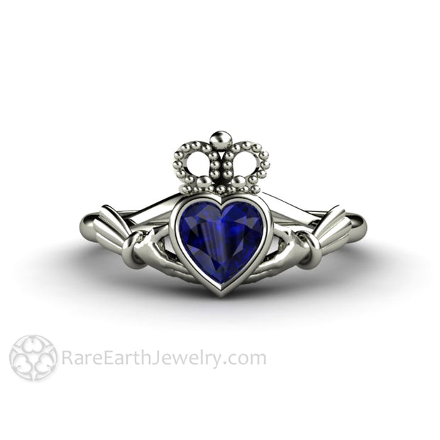 Blue Sapphire Claddagh Ring Celtic Jewelry White Gold Irish Wedding Ring Rare Earth Jewelry