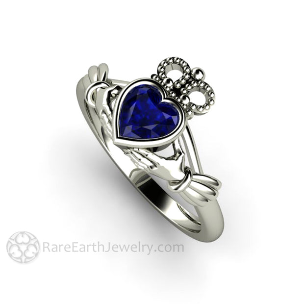 Blue Sapphire Claddagh Ring Celtic Promise Ring Unique Engagement Ring Rare Earth Jewelry