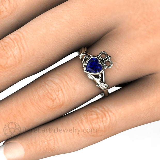 Blue Sapphire Claddagh Ring Celtic Wedding Ring Irish Promise Ring on Finger Rare Earth Jewelry