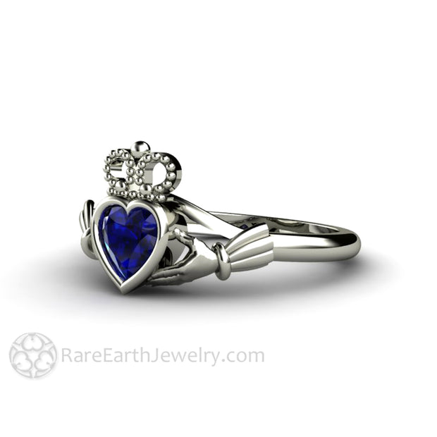Blue Sapphire Claddagh Ring Celtic Wedding Ring Irish Promise Ring Rare Earth Jewelry