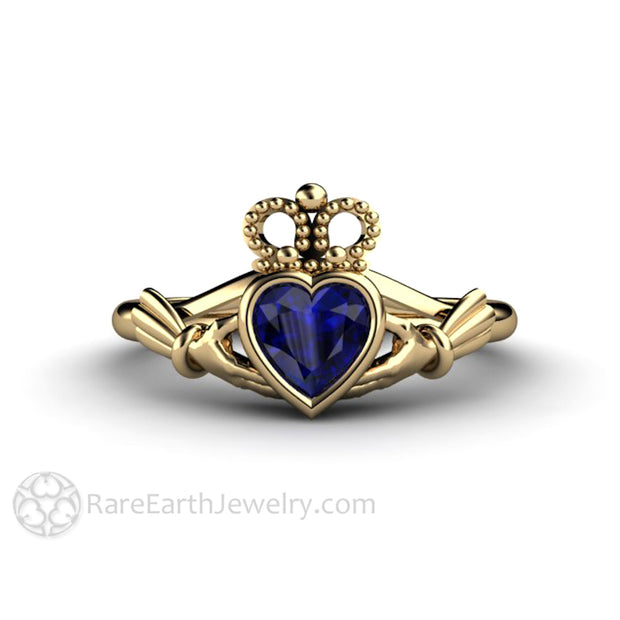 Blue Sapphire Claddagh Ring Celtic Wedding Ring September Birthstone 14K Yellow Gold Rare Earth Jewelry