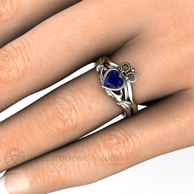 Blue Sapphire Claddagh Ring Irish Celtic Jewelry Bridal Set on Finger Rare Earth Jewelry