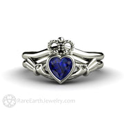 Blue Sapphire Claddagh Ring Irish Engagement Ring Celtic Jewelry Wedding Set Rare Earth Jewelry