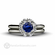 Blue Sapphire Cluster Engagement Ring with Matching Wedding Ring