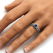 Blue Sapphire Engagement Ring Vintage Style Diamond Halo