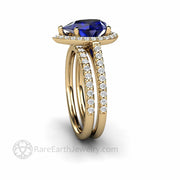 Blue Sapphire Pear Cut Diamond Halo Engagement Ring Yellow Gold Wedding Set