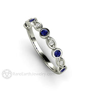 Blue Sapphire Ring September Birthstone Stacking Band Rare Earth Jewelry