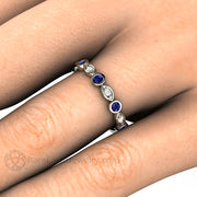 Blue Sapphire Wedding Band on Hand with Diamonds Rare Earth Jewelry