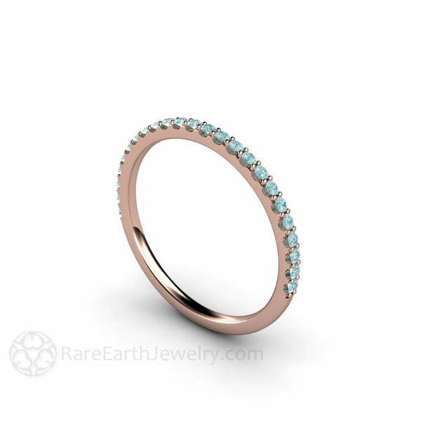 Blue Diamond Stackable Ring Round Cut Petite Setting Rare Earth Jewelry