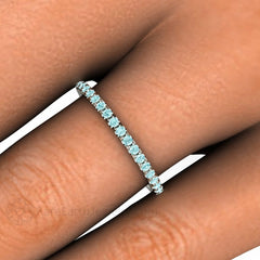 Light Blue Diamond Band Stackable Anniversary Ring Rare Earth Jewelry