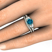 Round Cut Blue Diamond Wedding Set on Finger White Gold Rare Earth Jewelry