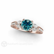 Blue Diamond Anniversary Ring 6mm 18K Rose Gold Rare Earth Jewelry
