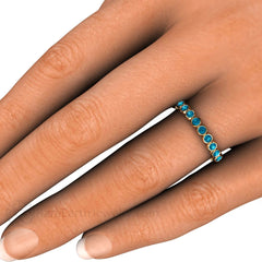 Teal Blue Diamond Ring on Finger Rare Earth Jewelry