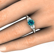 Blue Diamond Engagement or Right Hand Ring on Finger Rare Earth Jewelry