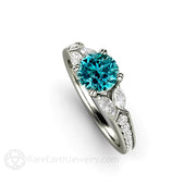 Round Cut Teal Blue Diamond Ring Unique April Birthstone or Anniversary Gift Rare Earth Jewelry