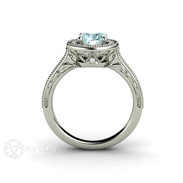 Blue Moissanite Ring with Filigree and Milgrain Art Deco Halo Design Rare Earth Jewelry