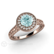 Rose Gold Moissanite Halo Engagement Ring Blue Diamond Alternative Rare Earth Jewelry