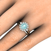 Rare Earth Jewelry Moissanite Wedding Set on Finger Blue Engagement Ring
