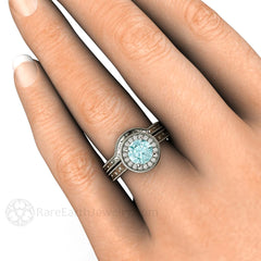 Art Deco Style Blue Moissanite Halo Wedding Set on Finger Rare Earth Jewelry