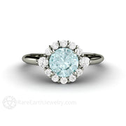 Rare Earth Jewelry Light Blue Moissanite Halo Engagement Ring 14K Gold Vintage Design