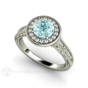 Rare Earth Jewelry Round Cut Blue Moissanite Engagement Ring Diamond Halo Vintage Filigree Setting 14K White Gold