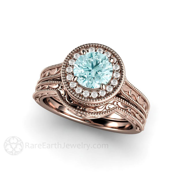 14K Rose Gold Wedding Set with Blue Moissanite Center and Diamond Halo Rare Earth Jewelry