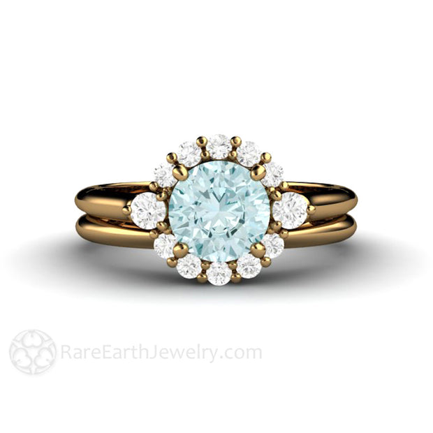 Rare Earth Jewelry 6.5mm Round Light Blue Moissanite with Diamond Cluster Halo Wedding Ring Set 18K Yellow Gold Setting