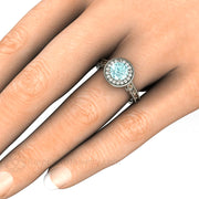 Blue Moissanite Engagement Ring on Finger Rare Earth Jewelry