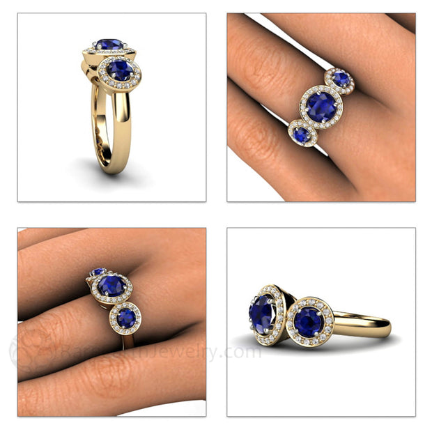 Rare Earth Jewelry Three Stone Natural Blue Sapphire Diamond Halo Right Hand Ring on Finger