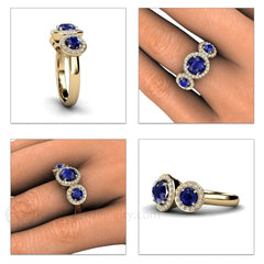 Three Stone Sapphire Diamond Halo Ring on Finger Rare Earth Jewelry