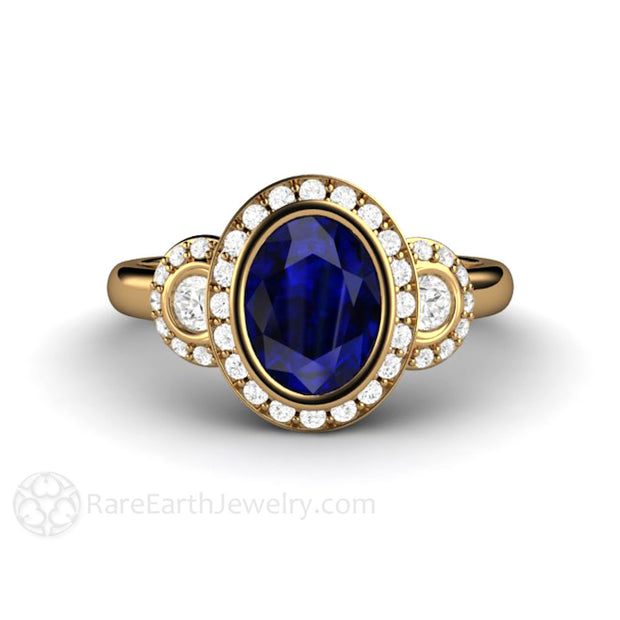 Rare Earth Jewelry Blue Sapphire Wedding Anniversary Ring Oval Halo 18K Gold