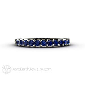Rare Earth Jewelry Blue Sapphire Anniversary Band Stacking Ring 14K White Gold