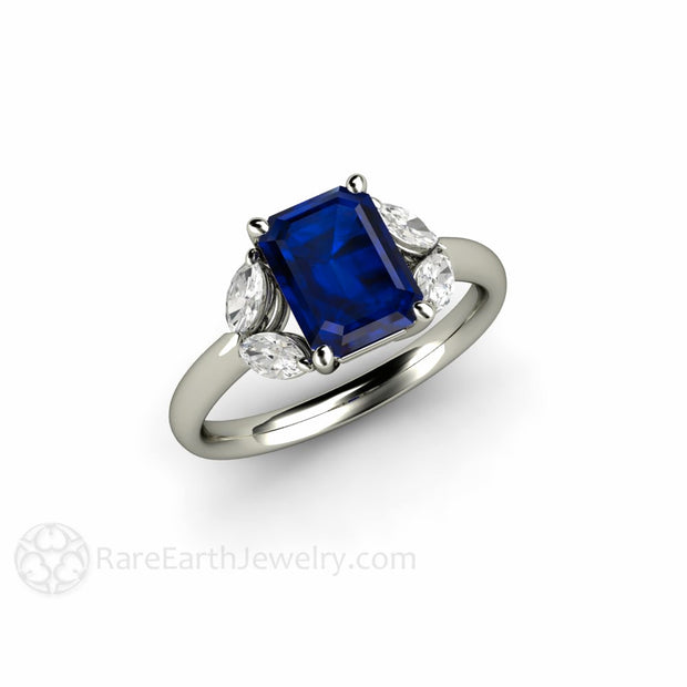 Platinum Blue Sapphire Right Hand or Cocktail Ring Rare Earth Jewelry
