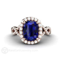 Cushion Cut Sapphire Diamond Halo Wedding Ring Rare Earth Jewelry