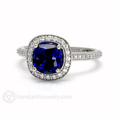 Rare Earth Jewelry Blue Sapphire and Diamond Bridal Ring Cushion Cut 14K or 18K Gold