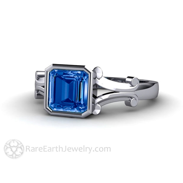 Ceylon Blue Sapphire Ring Asscher Bezel Set Engagement Rare Earth Jewelry