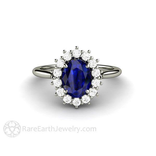 Rare Earth Jewelry Blue Sapphire Engagement Ring Oval Cut with Diamond Halo