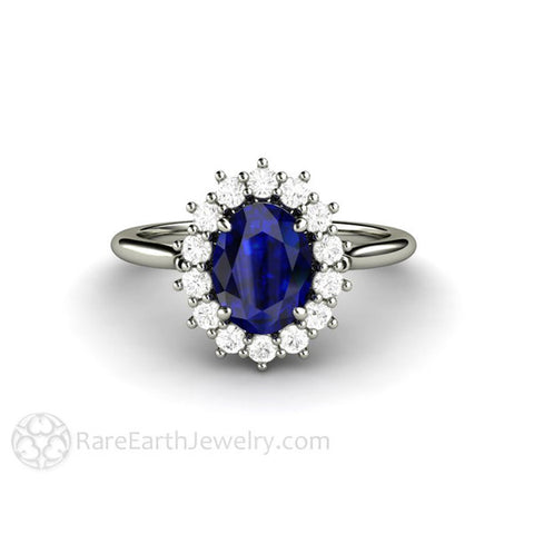 Blue Sapphire Engagement Ring Diamond Halo Oval Cluster