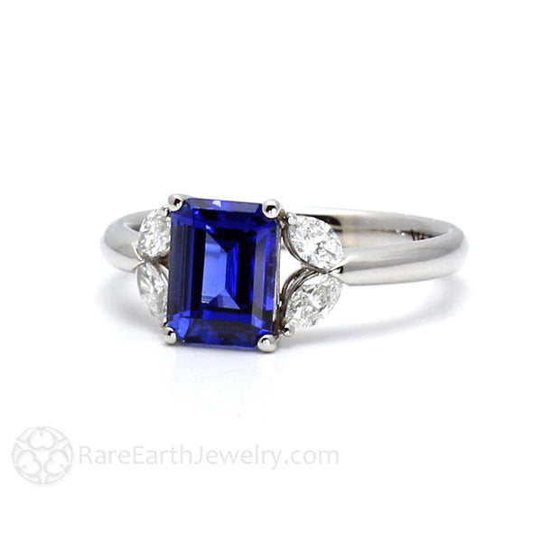 Blue Sapphire September Birthstone or Anniversary Ring Diamond Accents Emerald Cut Rare Earth Jewelry