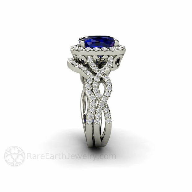 Rare Earth Jewelry 14K Cushion Cut Blue Sapphire Wedding Ring Set Diamond Halo and Band Split Shank Infinity Design
