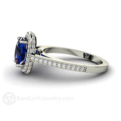Rare Earth Jewelry Cushion Cut Blue Sapphire Bridal Ring September Birthstone