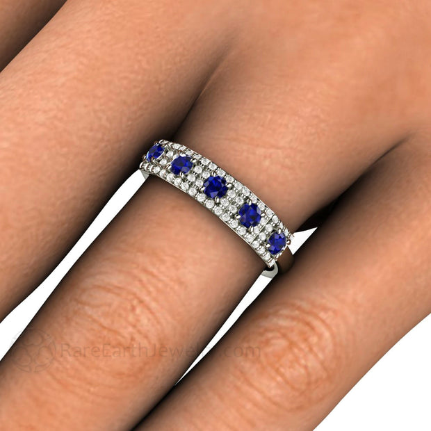 Vintage Art Deco Blue Sapphire Band on Finger Rare Earth Jewelry