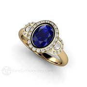 Rare Earth Jewelry Blue Sapphire Engagement Ring 14K Gold Oval Halo 3 Stone